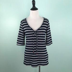 Lucky Brand Medium Sweater Top Stripes Blue White